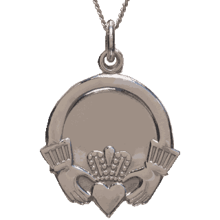 Front image of Sterling Silver Claddagh Pendant
