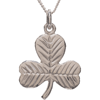 Front image of White Gold Shamrock Pendant