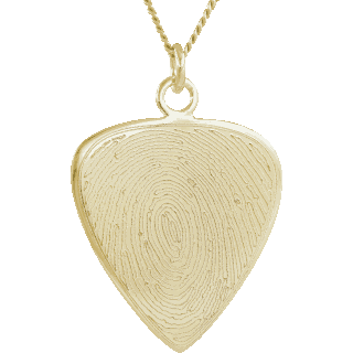 Front image of Yellow Gold Guitar Pick Pendant