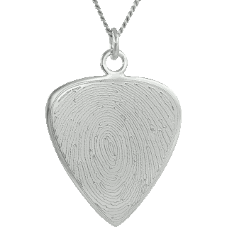 Front image of White Gold Guitar Pick Pendant