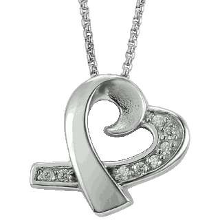 Front image of Jewel Heart Pendant Keepsake (Urn)