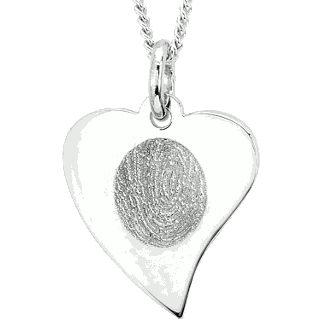 Front image of Sterling Silver Flat Heart Pendant